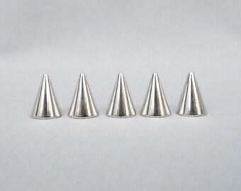 10 Silver Half Inch Cone Spikes