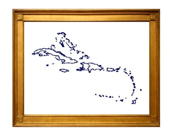 XL Caribbean Map Cross Stitch Pattern with country map outlines of caribbean islands.