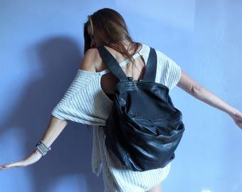 Cube black leather backpack AOR