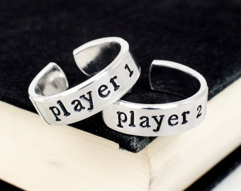 Player 1 & Player 2 Gamer Couple Ring Set - Valentines Day Gift