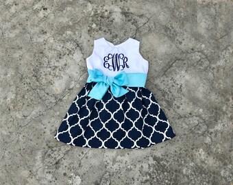 Trendy girl dresses, baby girl clothes, monogram girl outfits, Navy lattice dress aqua sash, little girl clothes, summer dress, sleeveless