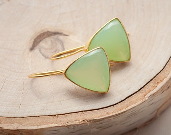 Candy ~14K Yellow Gold Over Sterling Silver Green Chalcedony Bezel set Ear-wire Earrings, also in Smokey Quartz, Blue, Pink, Rose Chalcedony