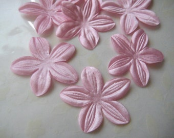 Pink Satin Flowers Appliques, Fabric Flower Petals, DIY Crafts Supply, Party Dresses, Embellishment , 1.75 inches / 4.5 cm, 12 pieces