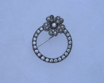 Pretty Art Deco Sterling Silver Paste Flower Circle Pin