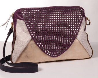 Purple leather bag,Crossbody bag,Leather crossbody,Women handbag,Studded leather,Soft leather,Crossbody handbag,Shoulder bag,leather purse