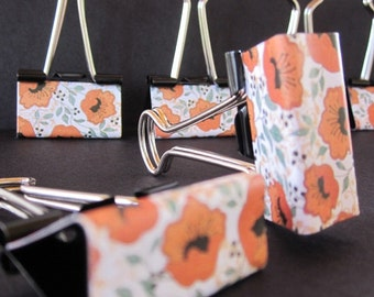 "Binder Clips - ""Orange Poppy"" 12 medium binder clips"