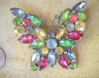 Wonderful Vintage Signed WEISS Multi-Color Rhinestone Butterfly Brooch.