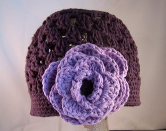 Beanie Hat Crocheted  Baby Eggplant, RTS in a Size 2-4 Years Soft Violet Modern Trendy Flower