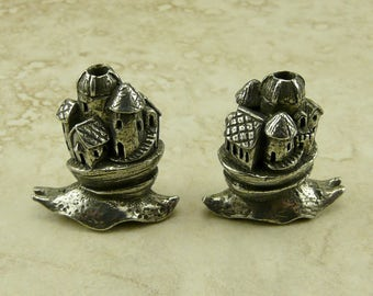 Snail Castle Green Girl Bead - Magic Fantasy Fairy Tale Palace Magical Land Realm - American Artist Made Lead Free Pewter Silver 237