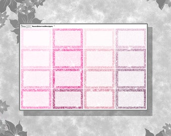 Glitter Half Boxes / Functional Stickers / Erin Condren Vertical Sized Square Half Boxes / for Planner, Journal, Travelers Notebook etc