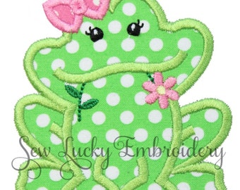 Ms. Frog Applique Embroidered Patch , Sew or Iron on