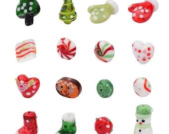 Christmas Holiday - Themed Handmade Lampwork Beads - Set of 16 - #LAMP-JP0001-01