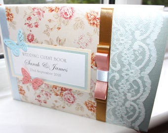 Personalised Handmade Wedding Guest Book Gold Blue Floral by Charlotte Elisabeth GB008