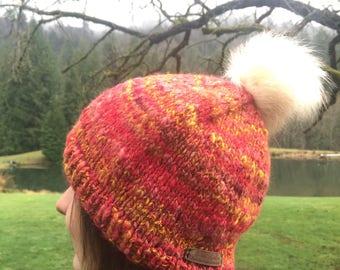 Dahlia Red Handspun Hat~ winter hat~ slouchy hat~ handmade knit~ Art Yarn