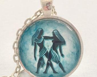 GEMINI glass pendant necklace, Astrology necklace, Gemini jewellery, Silver astrology necklace
