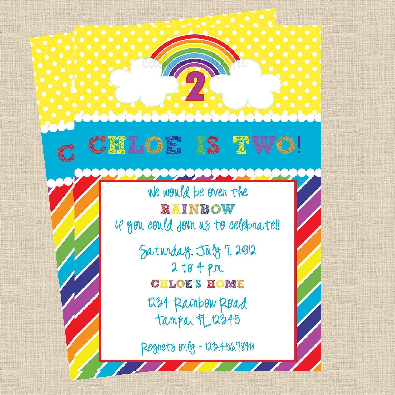 It\'s A Rainbow Party Birthday Invitations Set of 12