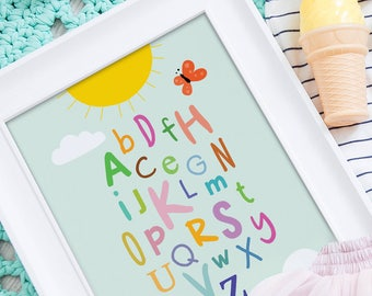 Alphabet print, nursery art, ABC wall art, alphabet poster, kids print, ABC wall decor, whimsical wall art print, ABC poster, abc print