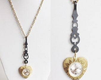 Gold Watch Necklace with Heart Pendant, Ornate Black Clock Hand, Long Gold Chain, Repurposed Vintage Materials, Handmade and One of a Kind