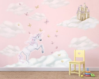 Unicorn Decals, unicorn decal, Unicorn Wall Stickers, Fairytale Decal, Unicorn wall decals, unicorn mural, cloud decals, girls decals
