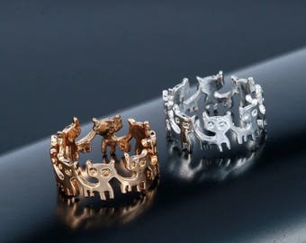 Cat ring silver or gold size S
