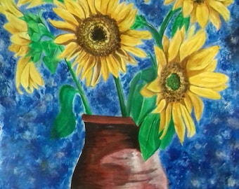 Original Sunflower Painting- Acrylic on paper
