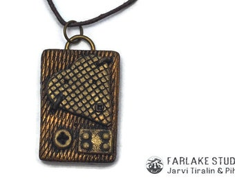 Steampunk heart pendant Polymer clay Rectangle pendant Handmade jewelry Steampunk pendant Handmade pendant Steampunk jewelry Bronze pendant