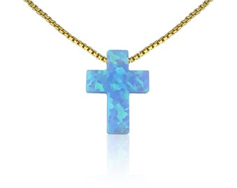 Opal Cross Necklace in Sky Blue • The Ideal Cross Necklace Gift • 2 Beautiful Chain Styles • This Opal Cross Necklace is Safe to Get Wet
