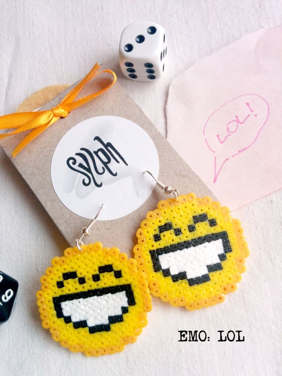 Pixel emoticon earrings showing off that wide smiled Laughing Out Loud emotion you get when someone shares something funny with you