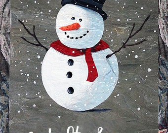 Snowman with Let It Snow hand painted 8''x 12'' slate sign