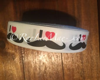 "I Love Mustache ribbon 1"" 25mm/grossgrain I Heart mustache ribbon/mustache hair bow ribbon/mustache ribbon/black and white mustache ribbon/"