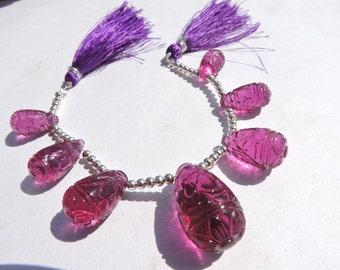 7 Pcs Rubilite Hot Pink Quartz Carved Drop Briolette Size 15*8 - 26*15 MM