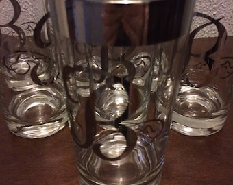 7 Vintage Silver rimmed  Monogrammed with a silver B bar ware/glasses 16 oz