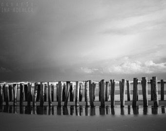 POLES photography print, dramatic black and white beach landscape, 8x12