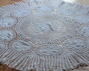 French Antique White Crocheted Tablecloth - Round and Sturdy - all Hand Crocheted - French Lace Tablecloth