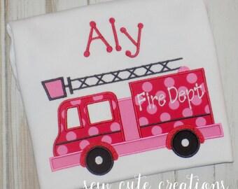Girl Firetruck Shirt, Girl Fire truck shirt, Fire Engine shirt, Firetruck birthday shirt, Girl Birthday Shirt, sew cute creations
