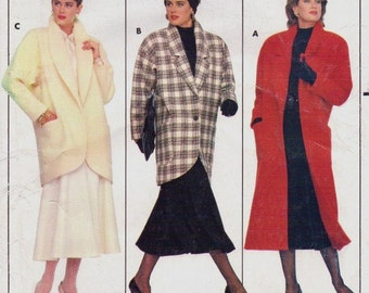 80s Family Circle Collection Womens A-Line Coat or Jacket Butterick Sewing Pattern 4039 Size 6 8 10 12 14 Bust 30 1/2 to 36 UnCut