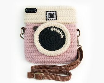 Crochet Lomo Camera Purse/ Pastel Pink Color