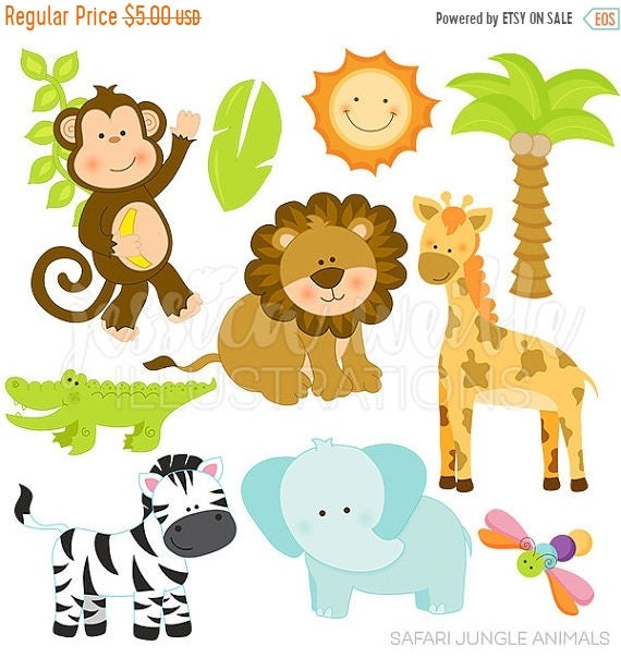 sale safari jungle animals cute digital clipart commercial use ok rh etsystudio com jungle animal clipart safari animals clipart
