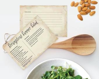 Scrumptious Summer Salad ~ Recipe Card, 4x6, Printable, Cooking, Hostess or Teacher Kitchen Shower Gift, Valentine's Day Gift Idea