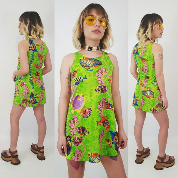 90's Underwater Mini Dress Extra Small - Lime Green Sleeveless Tank Sun Dress Women XXS - Underwater Ocean Nautical Summer Mini Fit Sundress