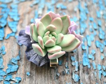 Succulent hair clip. Hydrangea hear clip. Succulent hydrangea hair accessory. Shebbi chic wedding bridal succulent hydrangea hair clip