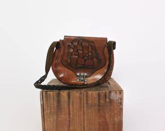 Vintage 70s Hippie PURSE / 1970s WOVEN Boho Leather Shoulder BAG