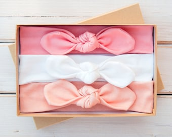 Baby Knot Headband Set of Three - Organic Cotton Baby Girl Headwrap - Toddler Turban - Infant Bow - Jersey Headband - Peach Coral Pink White
