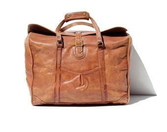 Vintage Brick Brown Leather Travel Bag   B11