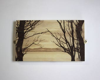 Pyrography Landscape - 'Through the Trees'