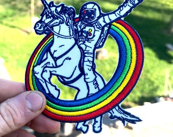 "Epic Combo #23 Astronaut riding a Unicorn through a rainbow 4"" embroidered iron-on patch"