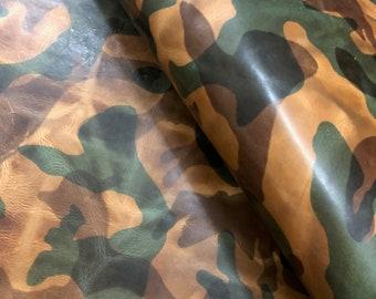 Military Camo Finish Italian Veg Tanned Leather