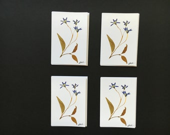 "Set of 4 Cards- ""Three Flowers"" Card Prints"