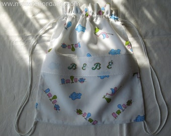 Baby Bag, small backpack, 100% handmade, embroidery by hand, cross-stitch. Hight quality lovely fabric, closed with a cord.