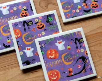 Halloween Coasters - Halloween Decor - Tile Coasters - Coasters - Ceramic Coasters - Table Coasters - Drink Coasters - Coaster Set of 4